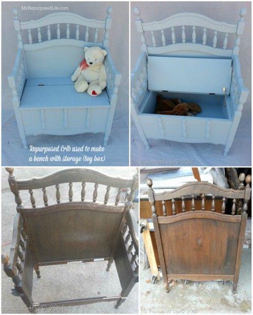 Πάγκος αποθήκευσης - 20 Απολαυστικά Δημιουργική και Λειτουργική τρόποι για να επαναπροσδιορίσετε Παλιά Cribs