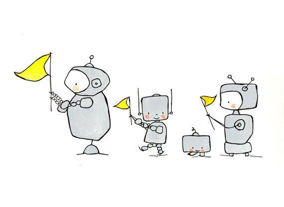 Robots en niño desfile--vivero arte, arte, chico vivero, vivero chica, gris y amarillo de la pared