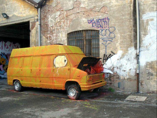 """BIG BANG BIG BOOM - the new wall-painted animation by BLU by blu. """"BIG BANG BIG BOOM:"""