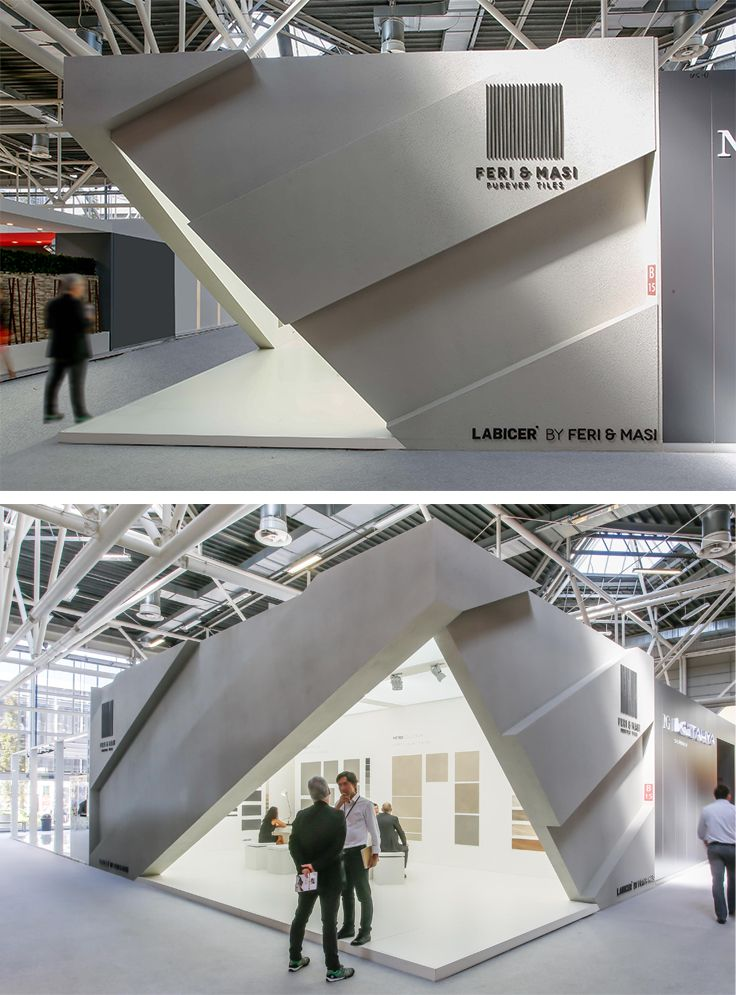 Keri & Masi Exhibition Stand, Cersaie, Bologna. Designed by Xilos Temporary Architecture with an area of 60m2 the stand displayed porcelain floor and wall tiles with simplicity and transparency.