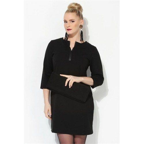 Melisita Afora Büyük Beden Siyah Tunik Elbise
