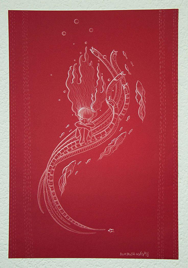 Humedad…Días de agua. Papel de color, lápiz blanco, tamaño 32 x 47 cm. Inicio de mayo, 2013.