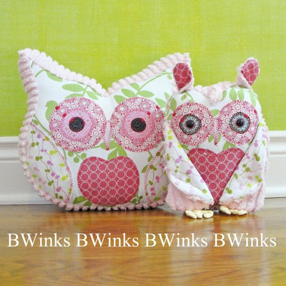 Owl Pillow Stuffed Owl  Bedroom Decor Pillow  No5  Pinks by BWinks, $30.00