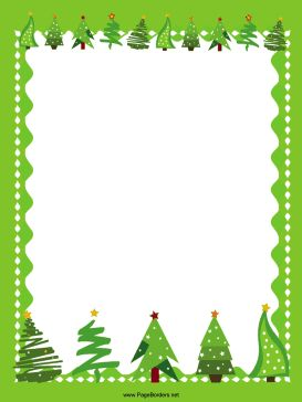Christmas trees decorated with stars line the top and bottom of a winter landscape in this free, printable, green Christmas border. Free to download and print.