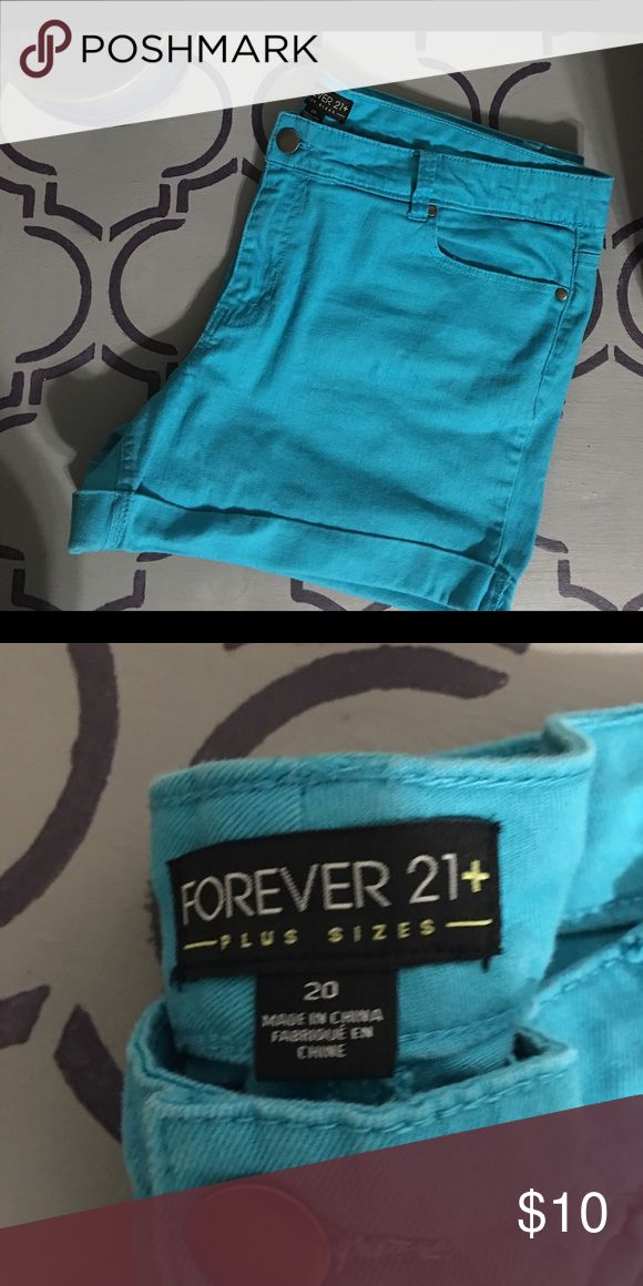 Forever 21+ teal shorts!!! Cute teal shorts washed & worn once. Forever 21 Shorts Jean Shorts