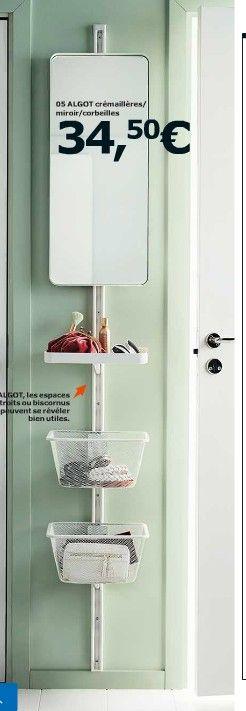 Ikea algot cr maill re panier tag res crochet pour - Etageres salle de bain ikea ...