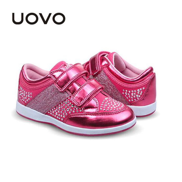 Girls Pink Moccasins Uovo Brand Rhinestone Decoration Casual Shoes Leather Canvas Sport Sneakers Spring Autumn Children Trainers alishoppbrasil