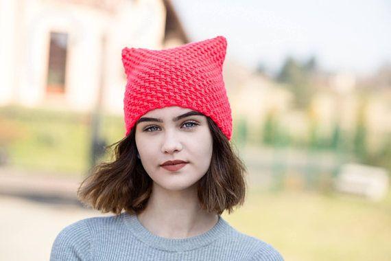 Orange NEON Cat Hat Cat Hat Knit Hat Knit Pussy Hat NEON  #cathat, #neonhat, #orangecathat