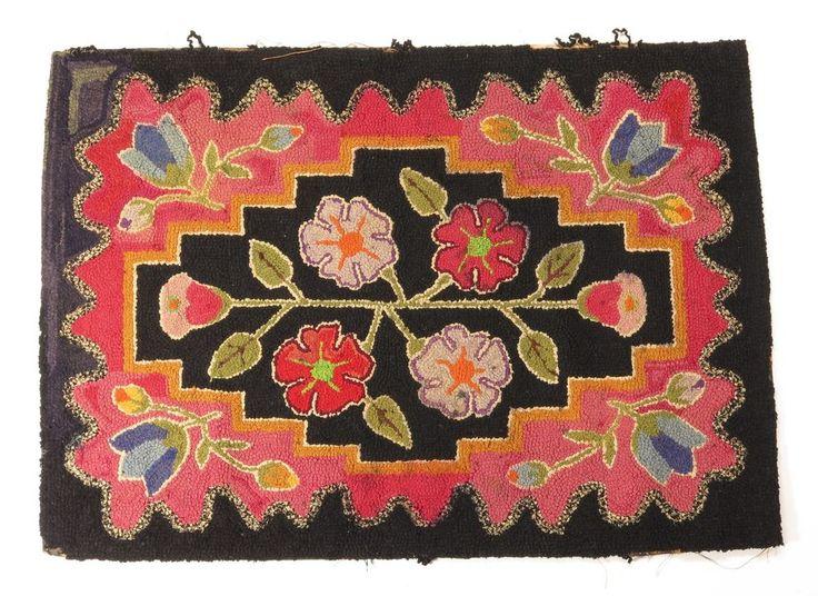 Antique Vintage Early Fl Tulips Folk Art Hooked Rug Flowers Pink Black Blue
