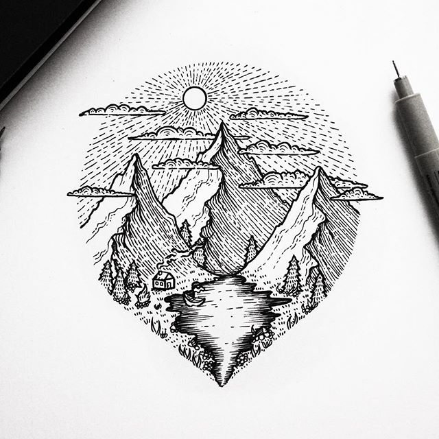 Line Art Nature : Best ideas about line drawing tattoos on pinterest