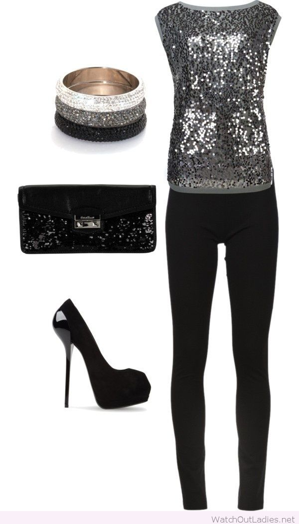 Black pants and grey glitter top