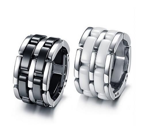 Luxury Titanium Stainless steel Black / White Single/Double row Ceramic Chain Style Rings/anel Women/Men Jewelry   Size 5 To 12-in Rings from Jewelry & Accessories on Aliexpress.com | Alibaba Group