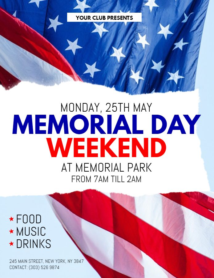 Memorial Day Weekend Event Flyer Design Template With Images