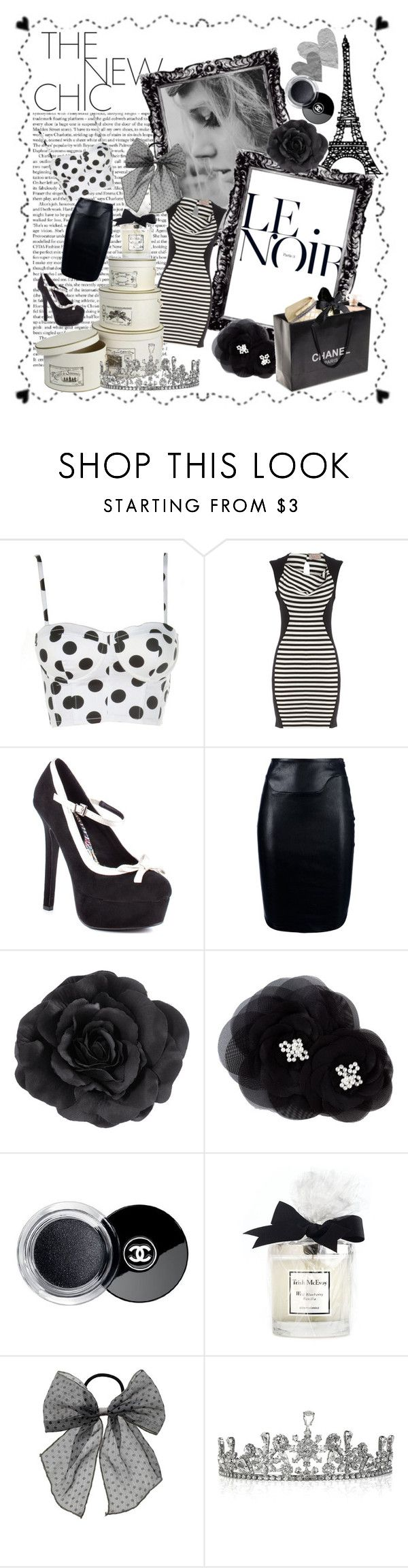 """Le Noir"" by sommer-reign ❤ liked on Polyvore featuring Dollhouse, Dorothy Perkins, 2 Lips Too, Thierry Mugler, H&M, Tasha, Chanel, Trish McEvoy and Louis Mariette"