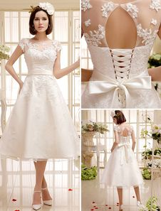 Ivory Lace Organza Short Wedding Dress