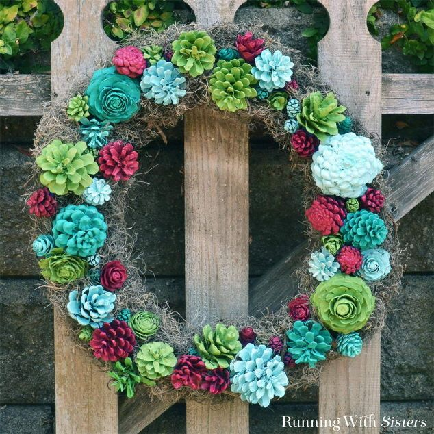 faux succulent wreath, crafts, how to, repurposing upcycling, succulents, wreaths