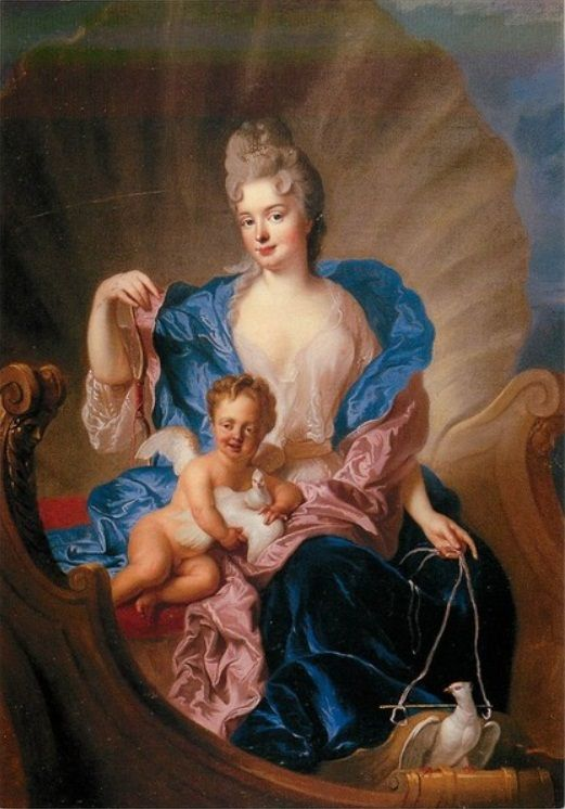 1712 Portrait of Countess of Cosel with son as Cupido by Francois de Troy