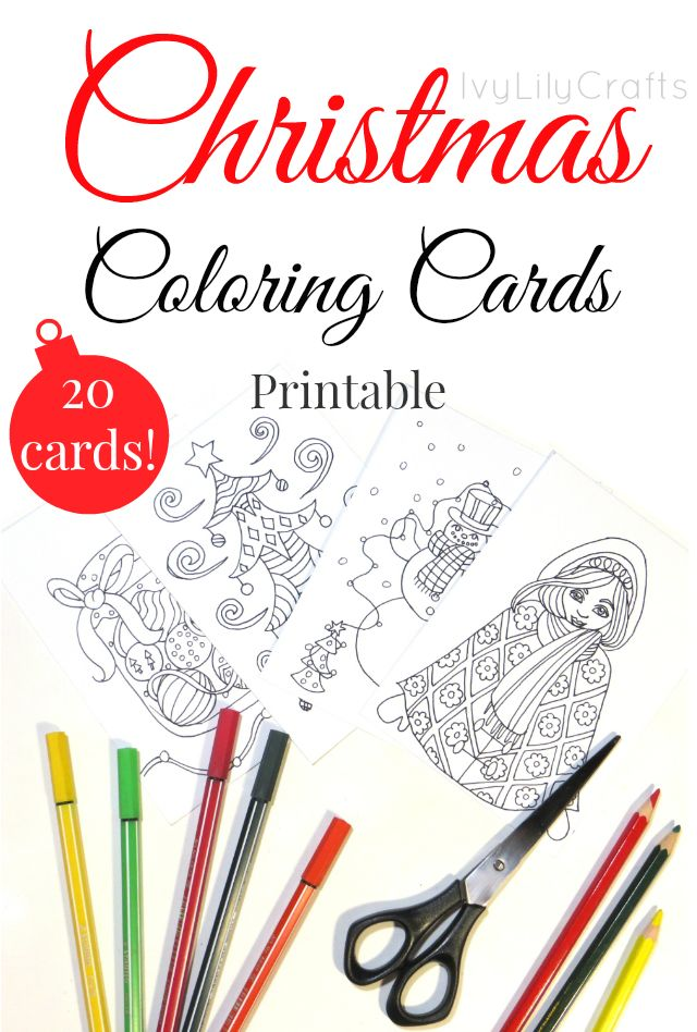 How I made instant download Christmas coloring cards for my Etsy shop. There are 20 designs for you to print, cut and color to make your own Christmas cards. The pictures vary from Christmas clothes to patterns, candy, animals, crafting supplies, decorations, candles and houses to a Christmas tree, a snowman and a girl in winter clothes