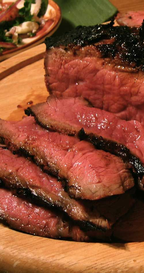 Recipe for Coffee-Rubbed London Broil - The coffee rub is my absolute favorite rub for beef, hands down – it's smokey, spicy, fragrant and a bit bitter, and plays off the deep, earthy flavor of beef perfectly.