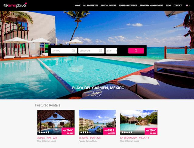 Te Amo Playa - This Lodgify customer have an eye-catching fuschia accent on their website.    #vacationrentalwebsites #vacationrentals #webdesign #website