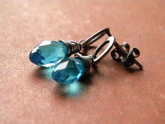 kolczyki - wire wrapping i metaloplastyka-kryształy  na małych kółkach