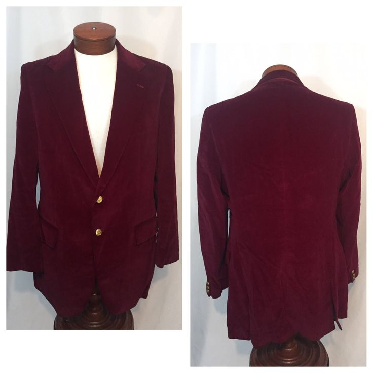 Vintage 44 Large L Groovy Baby Wine Red Velvet Dinner Jacket Sport Coat Sportcoat Stanley Blacker 70s Seventies 2 Button Mod Made in USA by CarolinaThriftChick on Etsy