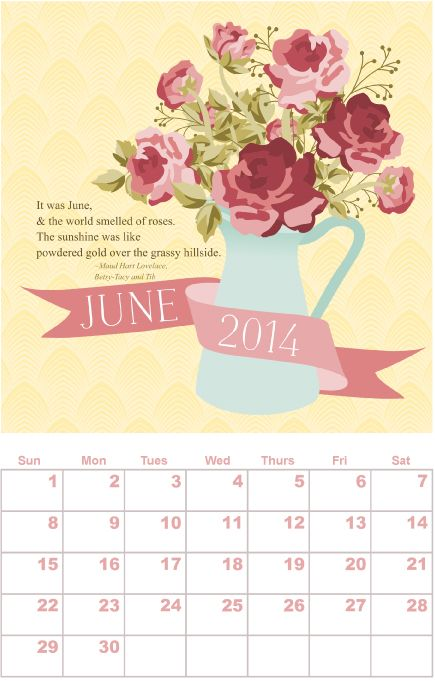 Free printable calendar, June, by Kelly Designs - http://www.etsydigitaldesigners.com/2014-free-printable-calendar.php