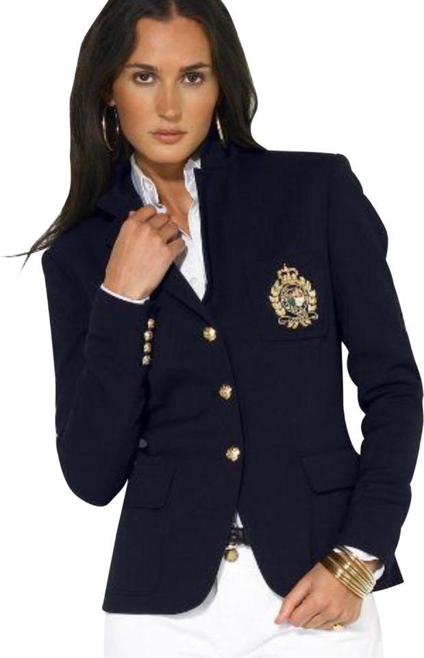 Ralph Lauren Crest Blazer Women S Polo Jacket Black New Gold Button Msrp 290 Ralph Lauren Blazer Clothes Blazers For Women