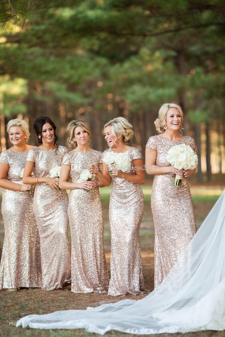 Bling Rose Gold Cheap 2015 Mermaid Bridesmaid Dresses Short Sleeve Sequins Backless Floor-Length Beach Wedding Gown Light Gold Champagne Online with $89.58/Piece on Magicdress2011's Store | DHgate.com