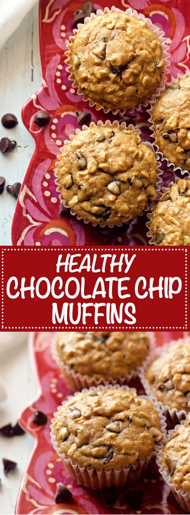 Whole wheat healthy chocolate chip muffins are 100% whole grain, low in sugar and can be made dairy-free. They're soft, fluffy and seriously loaded with chocolate chips. They're great for a fun breakfast or lunchbox treat or an afternoon or late-night snack! #healthymuffins #chocolatechipmuffins #healthysnack | www.familyfoodonthetable.com