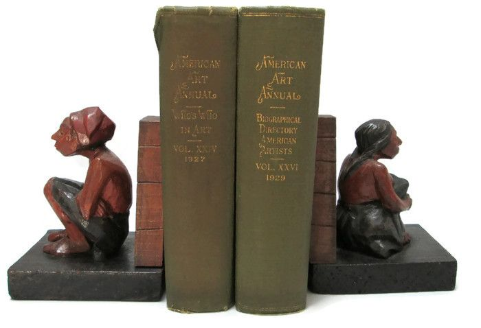 Folk Art Bookends Carved Painted Wood Mesoamerican Couple