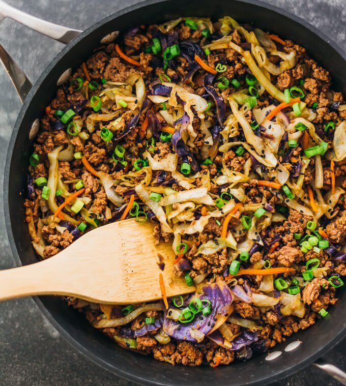 Get the recipe: ground beef and cabbage stir fry Image Source: Savory Tooth