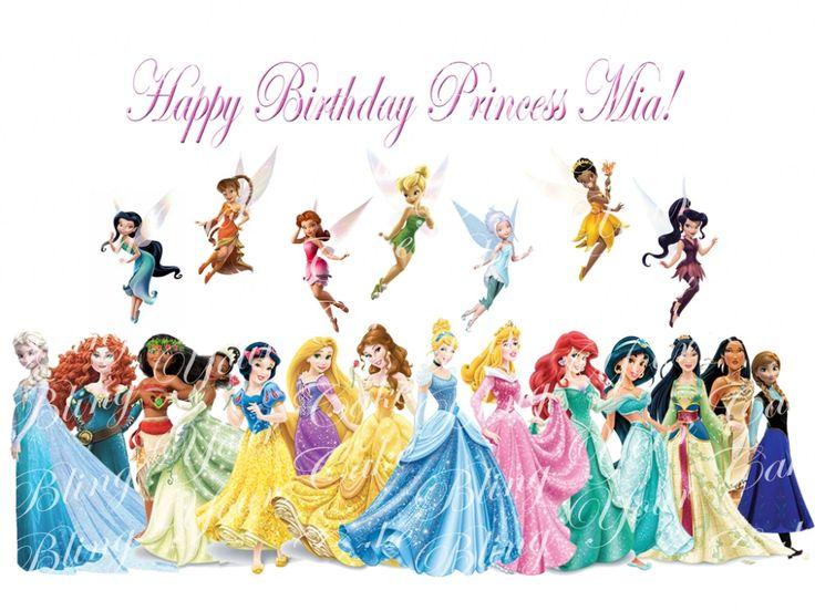 Disney princess fairies edible icing sheet cake decor