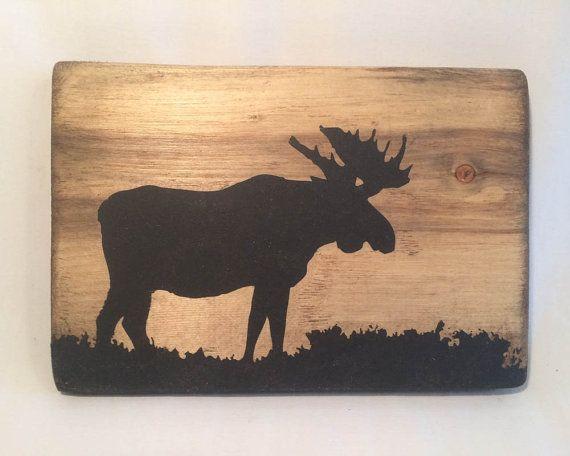 Houten moose sillouette muur opknoping kunst decor