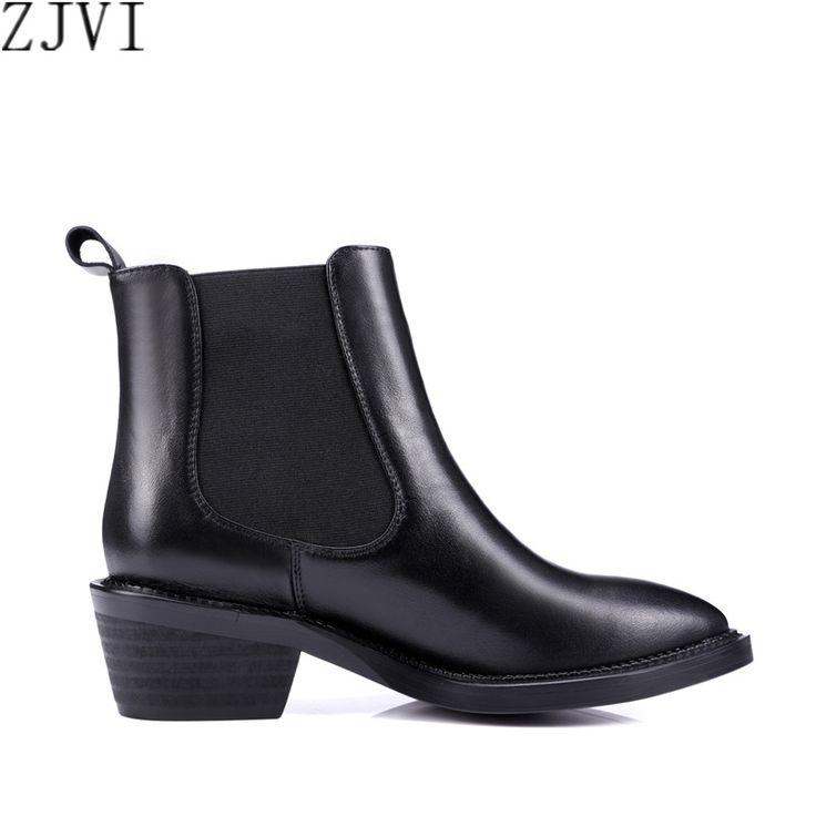 ZJVI Женщина мода резинка квадратных каблуках женская обувь Из Натуральной кожи острым носом обувь Женская ботильоны Осенние сапоги купить на AliExpress