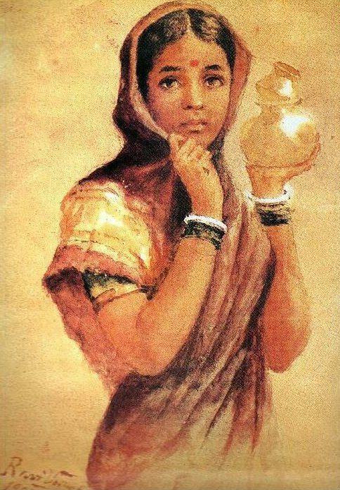 The Milkmaid, 1904 Raja Ravi Varma - Style - Academicism