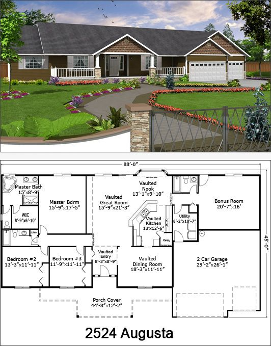 17 best images about floor plans on pinterest walk in for Ranch style house plans with bonus room