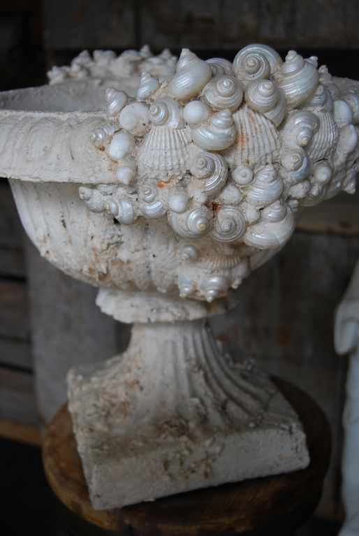shell encrusted urn
