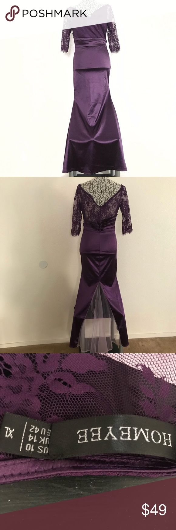 "Homeyee lace sleeve satin dress size 10 XL Pit to pit 18"" Waist 26"" Sleeve 15"" Top length 12"" Skirt length 42""  NYE New Year's eve outfit , Pantone Ultraviolet, prom or homecoming dress Homeyee Dresses Prom"