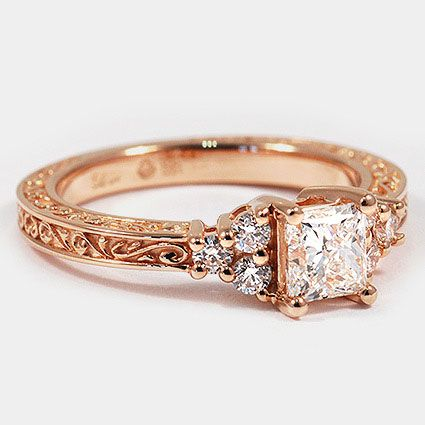 14K Rose Gold Adorned Trio Diamond Ring // Set with a 0.60 Carat, Princess, Very Good Cut, G Color, VS1 Clarity Diamond #BrilliantEarth