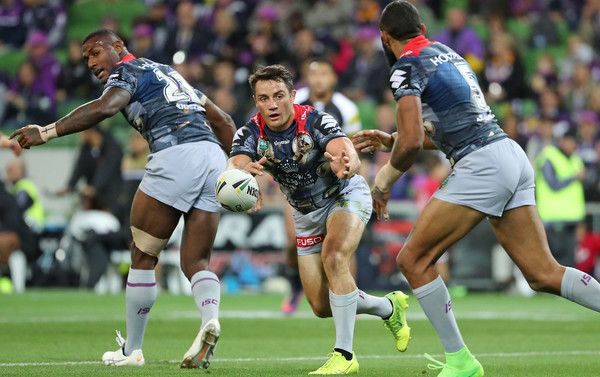 Cooper Cronk Photos Photos - Cooper Cronk of the Melbourne Storm passes the ball during the round five NRL match between the Melbourne Storm and the Penrith Panthers at AAMI Park on April 1, 2017 in Melbourne, Australia. - NRL Rd 5 - Storm v Panthers