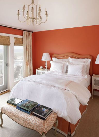 Suzie: Jennifer Flanders Interior Design - Orange bedroom design with orange walls bamboo roman ...