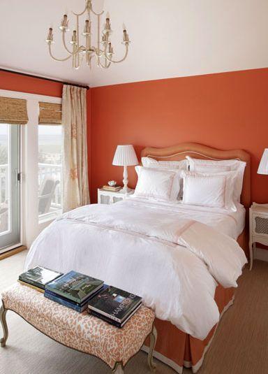 Suzie: Jennifer Flanders Interior Design - Orange bedroom design with orange walls bamboo roman ...