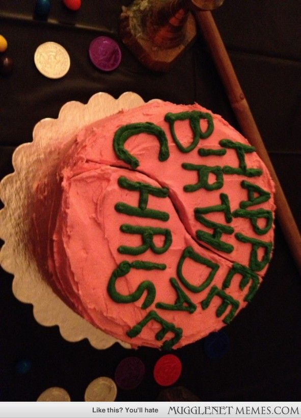 OMG a Harry Potter cake done right :D... hagrids cake, spelling and all. love this alot