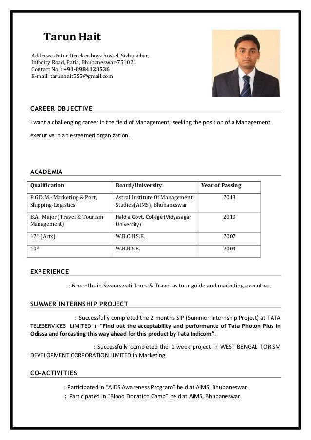 Tarun Haitcareer Objectivei Want A Challenging Career In The Field Of Management Seeking The Positio Basic Resume Format Job Resume Format Job Resume Template