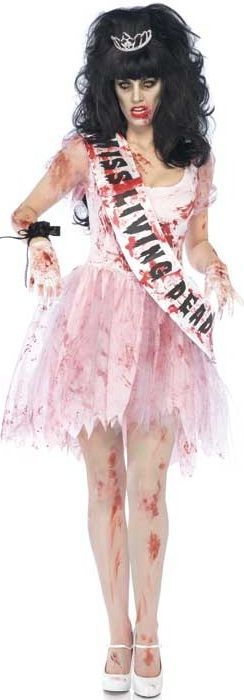 FANCY DRESS ZOMBIE PROM QUEEN COSTUME - LEG AVENUE NIGHT OF THE LIVING DEAD OUTFIT - LADIES HALLOWEEN COSTUMES