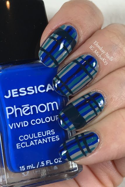 ehmkay nails: Blue Plaid Nails with Jessica Cosmetics