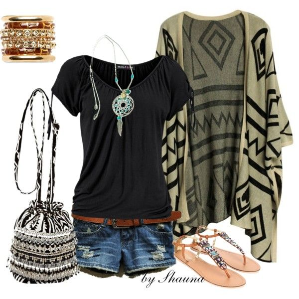 """""""Aztec summer""""   better do this with capris, jeans or a skirt. My thighs are too old for short shorts."""