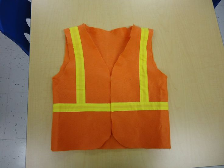 construction theme preschool | Construction vest made from felt and bright yellow trim