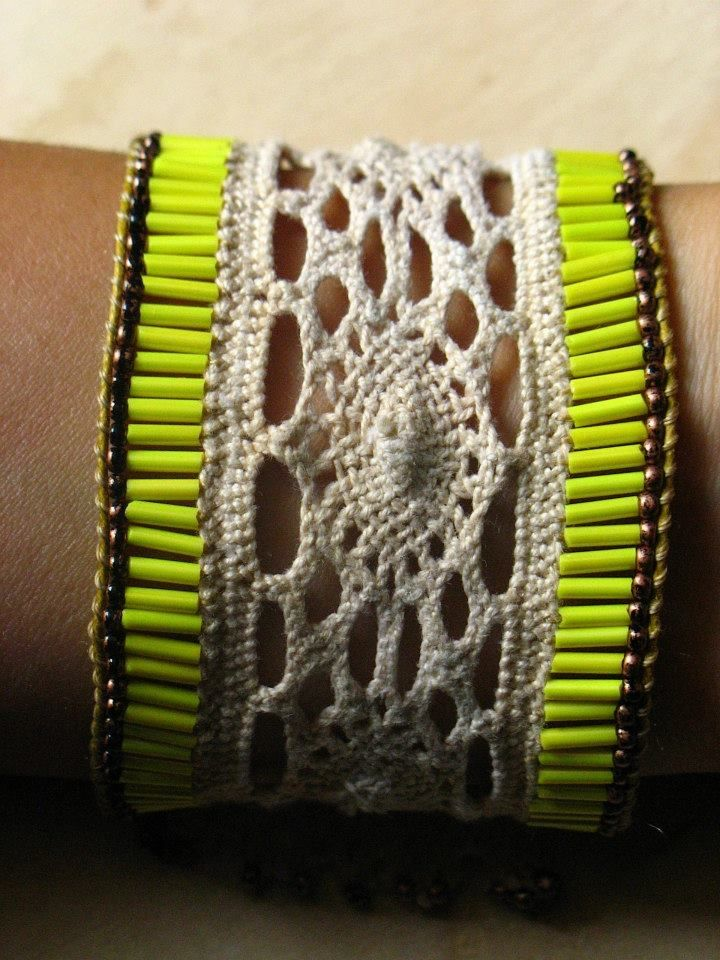 macrame crochet bracelet with long yellow beads.